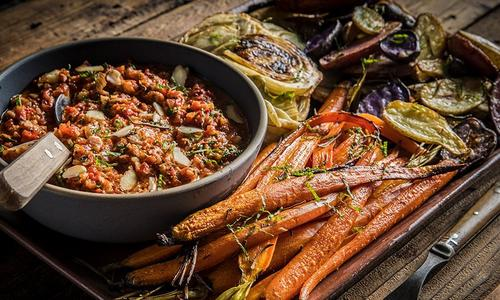 Grilled Baby Carrots And Fennel With Romesco