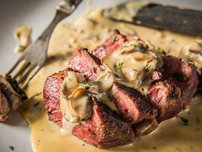 Grilled Peppercorn Steaks with Mushroom Cream Sauce Recipe