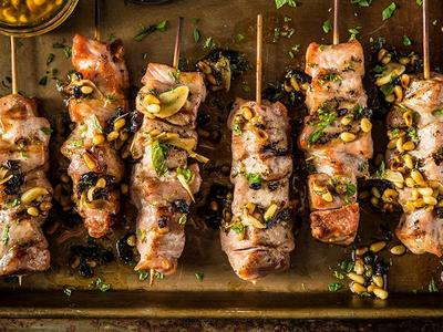Grilled Pork Skewers With Currant Brown Butter Recipe