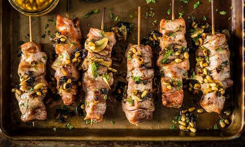 Grilled Pork Skewers With Currant Brown Butter