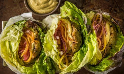 Grilled Thai Chicken Burgers With Papaya Slaw