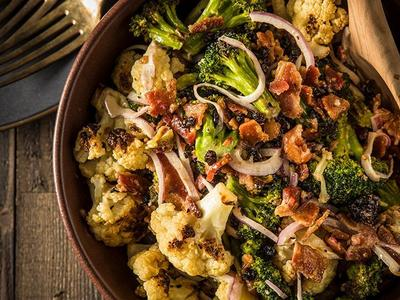 Roasted Cauliflower & Broccoli Salad with Bacon Recipe