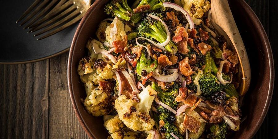 image of Roasted Cauliflower & Broccoli Salad with Bacon