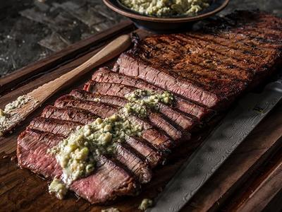 Grilled London Broil with Blue Cheese Butter Recipe