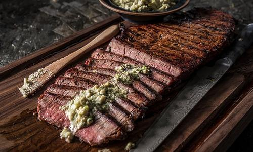 Grilled London Broil with Blue Cheese Butter
