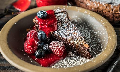 Flourless Chocolate Cake with Raspberry Sauce