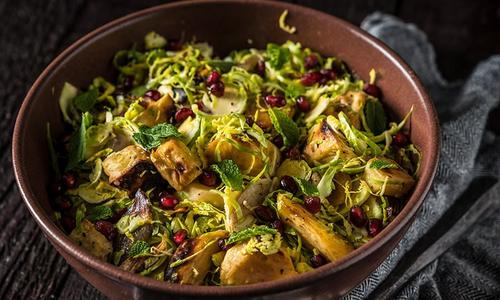 Smoked Shredded Brussels Sprout Salad