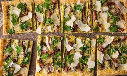 Baked Asparagus Pancetta Cheese Tart