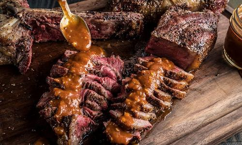 Grilled T-Bone Steaks with Bloody Mary Steak Sauce