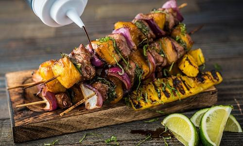 Grilled Pineapple And Pork Skewers