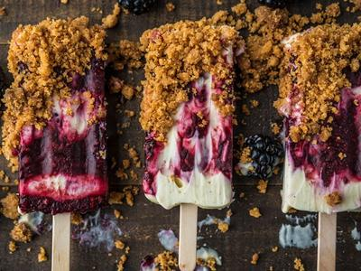 Smoked Blackberry Popsicle with Mascarpone and Cookie Crunch Recipe