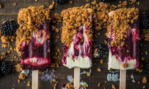 Smoked Blackberry Popsicle with Mascarpone and Cookie Crunch