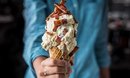 Smoked Maple Ice Cream with Candied Bacon