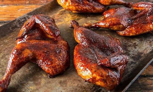 BBQ Halved Chickens By Doug Scheiding