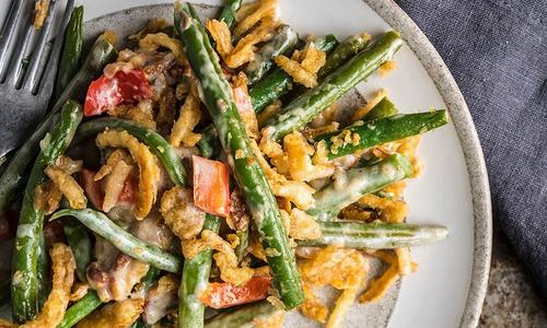Baked Bacon Green Bean Casserole