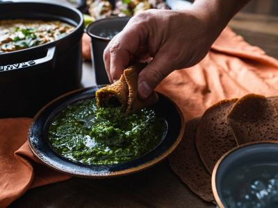 Baked Teff Flatbread with Zhoug Sauce Recipe