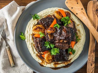 Braised Beef Short Ribs With Creamy Grits Recipe