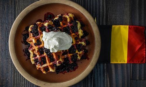 Belgium Waffle with Smoked Blueberry Sauce