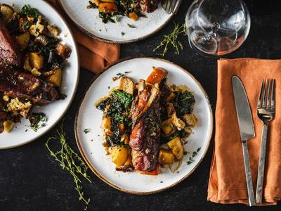 Braised Country Style Pork Ribs with Brown Butter Apples and Kale Recipe