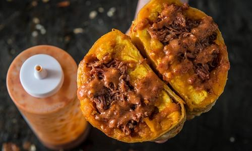 BBQ Pulled Pork Breakfast Burrito With Smoked Hot Sauce