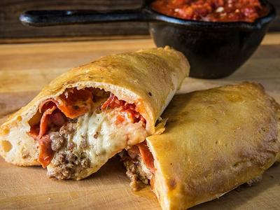 Baked Meat Lover's Calzone with Smoked Marinara Recipe