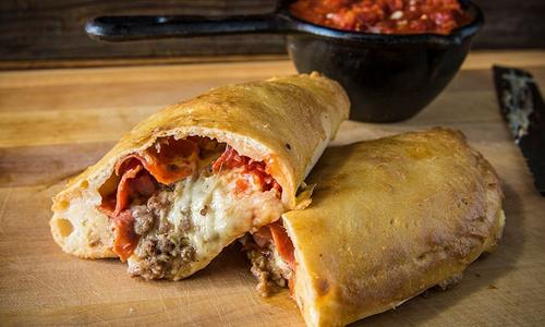 Baked Meat Lover's Calzone with Smoked Marinara