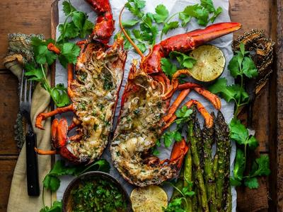 Caribbean Curry Grilled Lobsters with Garlic Lime Asparagus Recipe
