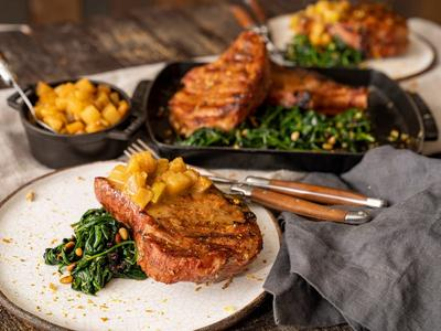 Cider Brined Pork Chops with Apple Pear Compote Recipe