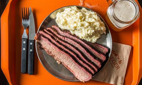 Coffee and Cocoa Rubbed BBQ Brisket with Creamy Mashed Potatoes