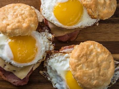 Grilled Country Ham Biscuit Sandwich