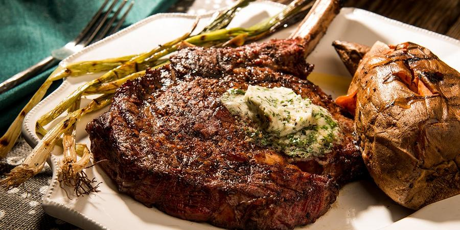 image of Smoked Rib-Eyes with Bourbon Butter