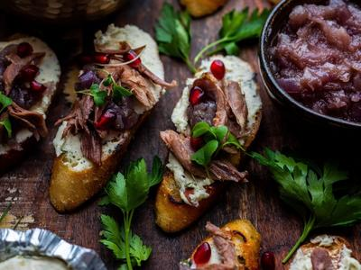 Duck Confit, Red Onion Jam, and Goat Cheese Crostinis Recipe