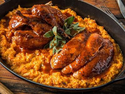 BBQ Game Birds with Root Vegetable Mash Recipe