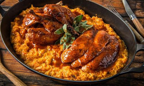 BBQ Game Birds with Root Vegetable Mash