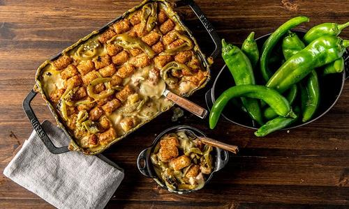 Baked Game Day Hatch Chile and Bacon Hot Dish