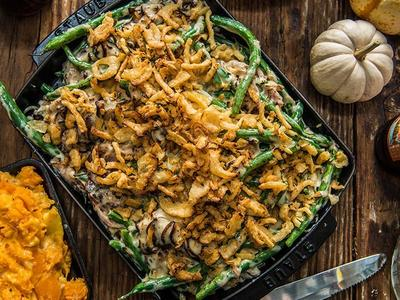 Baked Green Bean Casserole with Pulled Pork