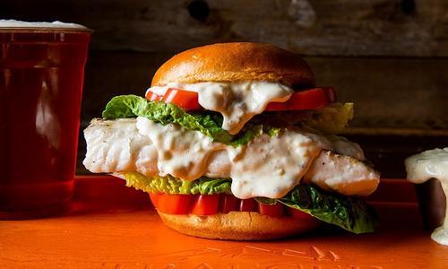 Baked Halibut Sandwich With Smoked Tartar Sauce
