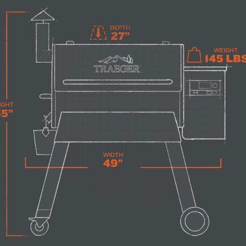 Pro 780 Pellet Grill - Blackextorior and interior views