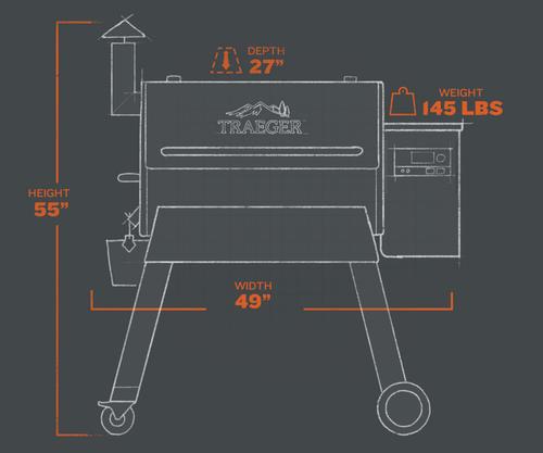 Traeger Pro 780 Pellet Grill - Blackextorior and interior views