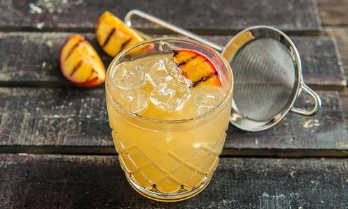Grilled Peach Sour Cocktail