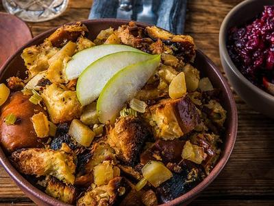 Baked Pear, Bacon & Brown Butter Stuffing Recipe