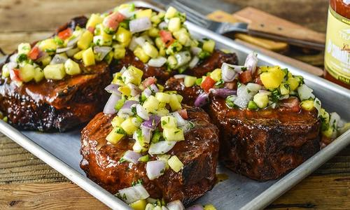Grilled Pork Chops with Pineapple-Mango Salsa