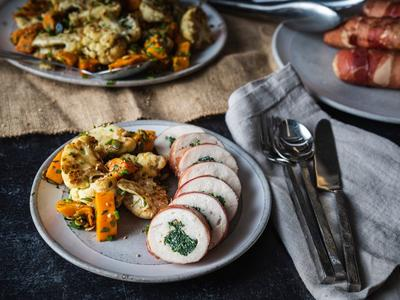Baked Prosciutto-Wrapped Chicken Breast with Spinach and Boursin Recipe