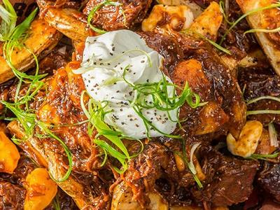 Roasted Potato Poutine With Pulled Pork And Burnt Ends Recipe