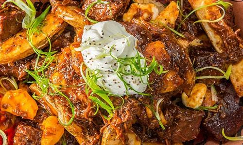 Roasted Potato Poutine With Pulled Pork And Burnt Ends