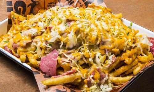 Loaded Reuben Fries with Fontina Cheese