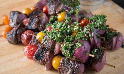 Grilled Ribeye Shish Kabobs with Chimichurri Sauce