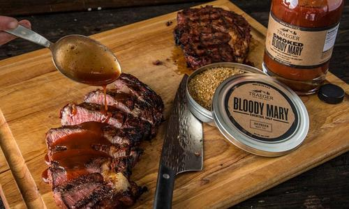 Grilled Rib-Eye Steaks with Bloody Mary BBQ Sauce