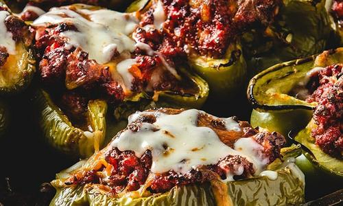 Roasted Sloppy Joe Stuffed Peppers