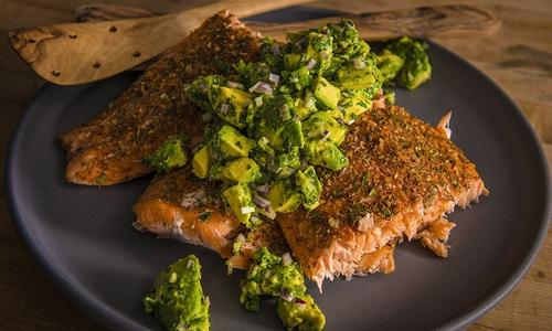 Grilled Salmon With Smoked Avocado Salsa